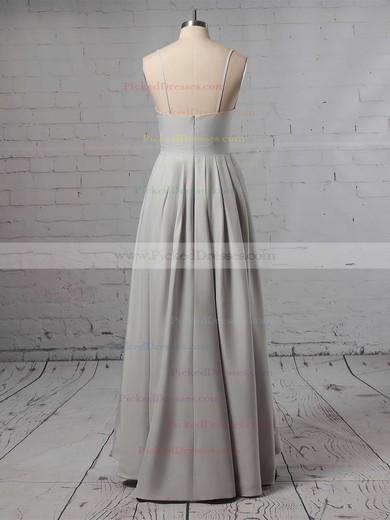 A-line V-neck Asymmetrical Satin Split Front Bridesmaid Dresses #PDS01013627