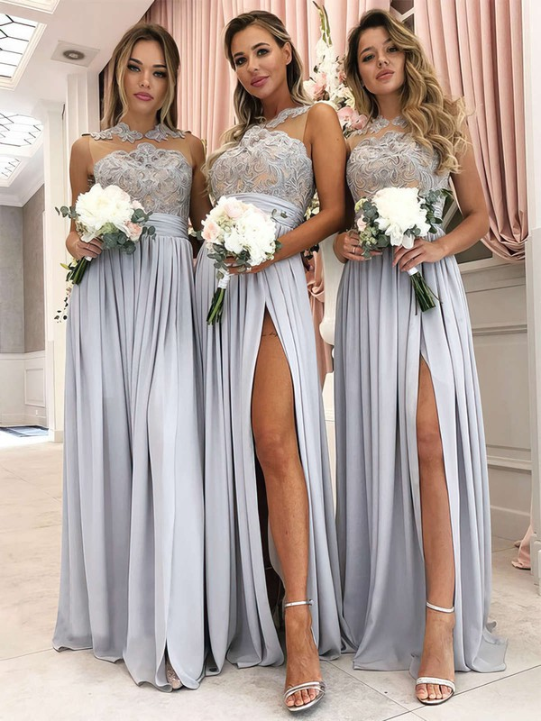 A-line Scoop Neck Floor-length Tulle Chiffon Appliques Lace Bridesmaid Dresses #PDS01013628