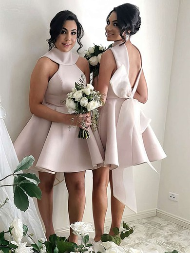 Princess High Neck Short/Mini Satin Bow Bridesmaid Dresses #PDS01013631
