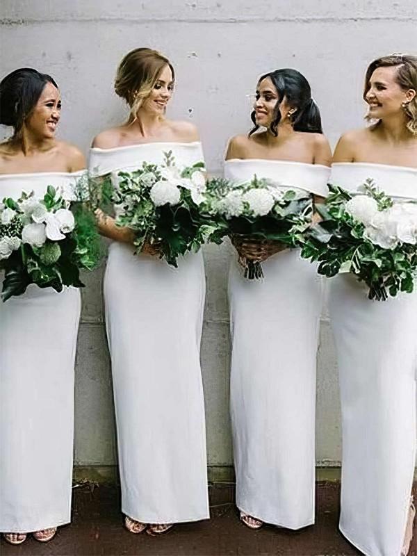 Sheath/Column Off-the-shoulder Ankle-length Silk-like Satin Bridesmaid Dresses #PDS01013632