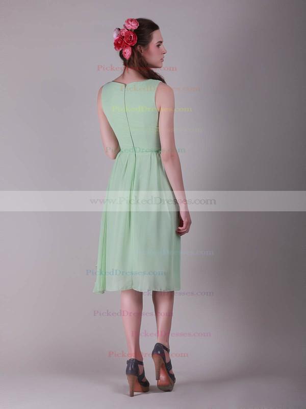 Chiffon A-line V-neck Knee-length Flower(s) Bridesmaid Dresses #PDS02042137
