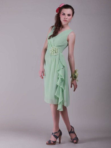 Chiffon A-line V-neck Knee-length Flower(s) Bridesmaid Dresses #PDS02042137