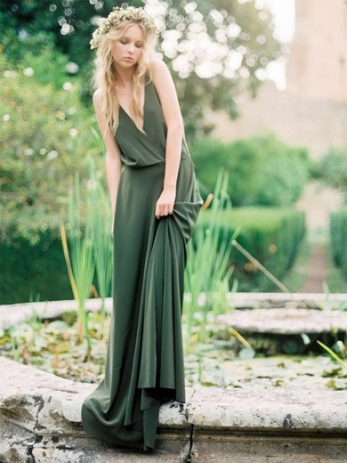A-line V-neck Sweep Train Jersey Bridesmaid Dresses #PDS01013635