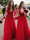 A-line V-neck Floor-length Tulle Lace Bridesmaid Dresses #PDS01013636