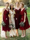 A-line V-neck Tea-length Chiffon Bridesmaid Dresses #PDS01013637
