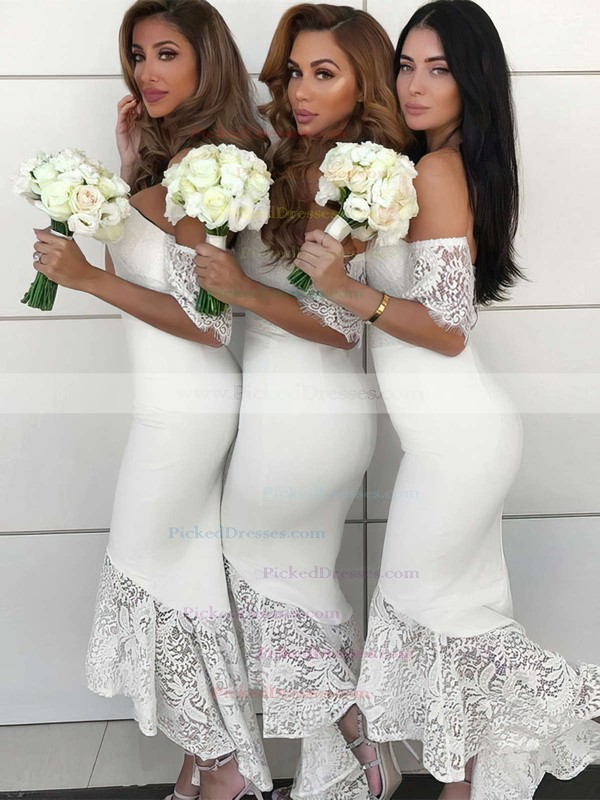 Trumpet/Mermaid Off-the-shoulder Asymmetrical Silk-like Satin Lace Bridesmaid Dresses #PDS01013638