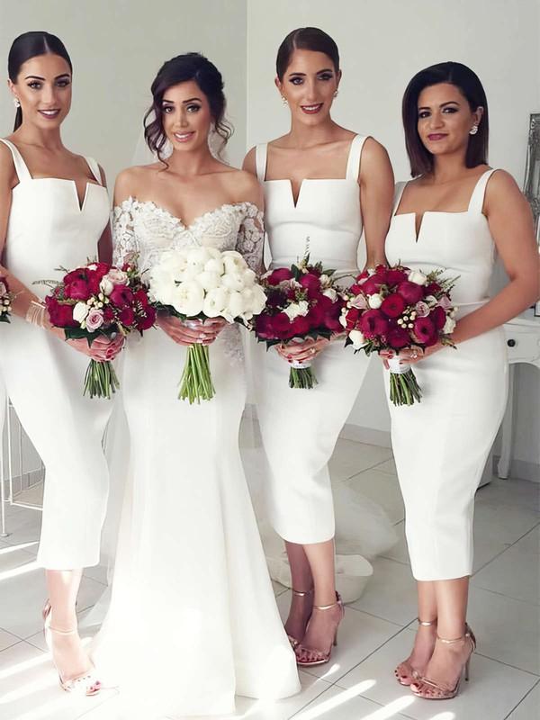 Sheath/Column Square Neckline Tea-length Silk-like Satin Bridesmaid Dresses #PDS01013640