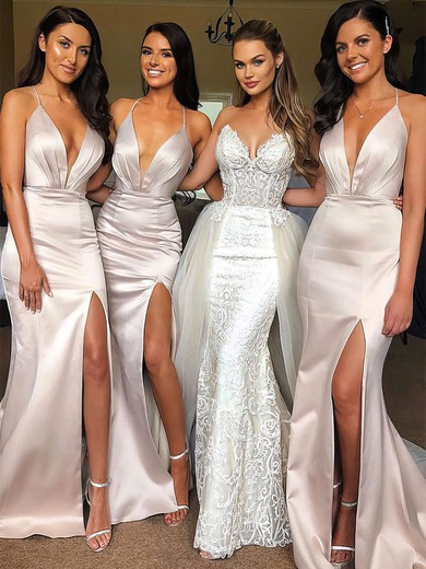 Trumpet/Mermaid V-neck Sweep Train Satin Split Front Bridesmaid Dresses #PDS01013641