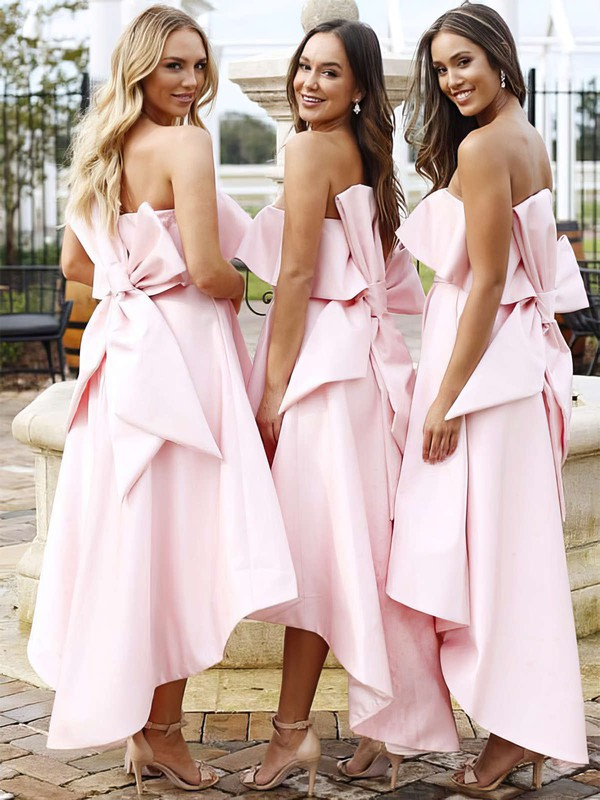 A-line Strapless Asymmetrical Satin Bow Bridesmaid Dresses #PDS01013642