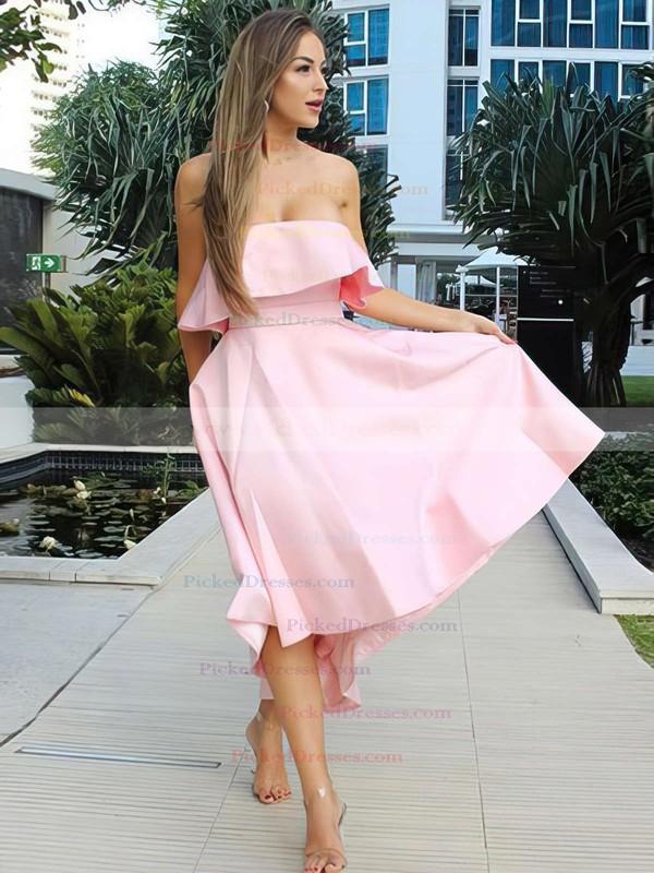A-line Strapless Asymmetrical Satin Bow Bridesmaid Dresses #PDS01013642