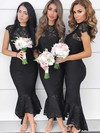 Trumpet/Mermaid High Neck Asymmetrical Lace Bridesmaid Dresses #PDS01013643