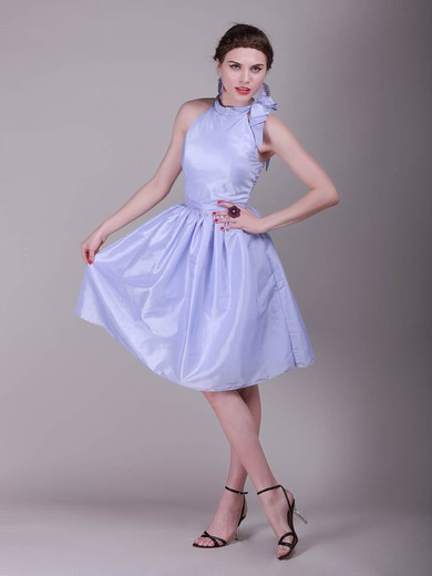 Taffeta A-line High Neck Knee-length Bow Bridesmaid Dresses #PDS02042138