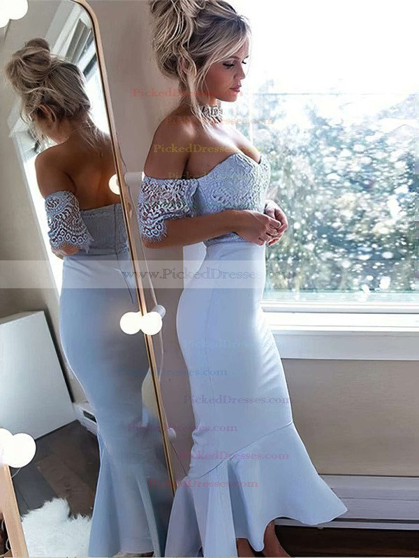Trumpet/Mermaid Off-the-shoulder Ankle-length Silk-like Satin Lace Bridesmaid Dresses #PDS01013646