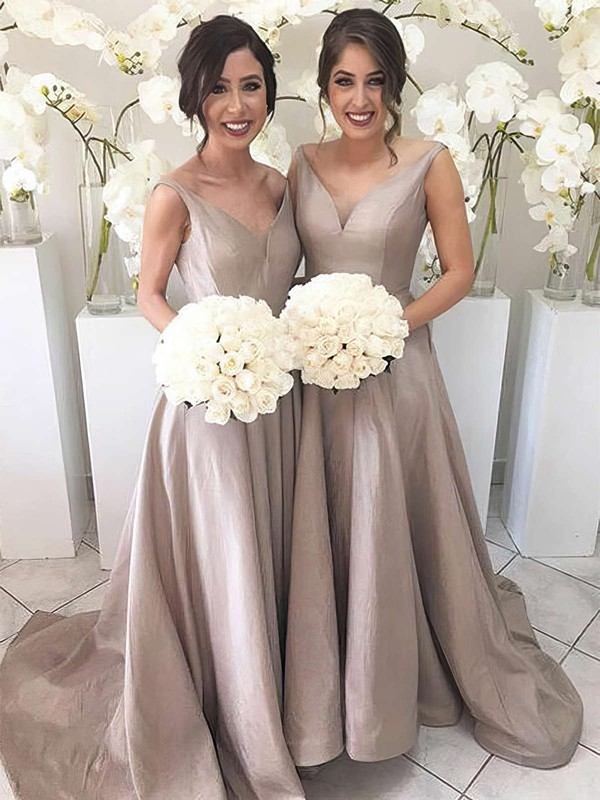 A-line V-neck Sweep Train Silk-like Satin Bridesmaid Dresses #PDS01013647