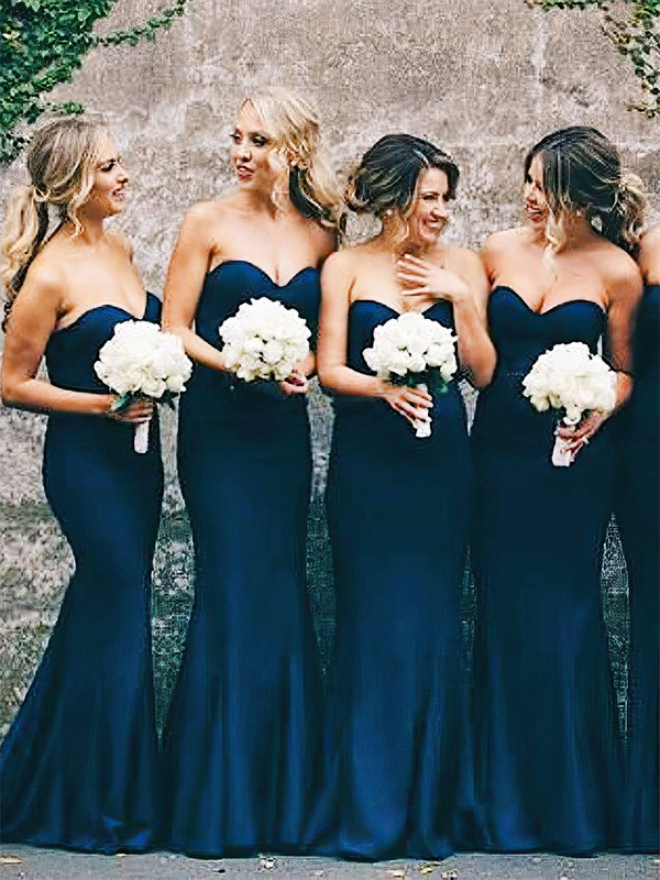 Trumpet/Mermaid Sweetheart Floor-length Silk-like Satin Bridesmaid Dresses #PDS01013648