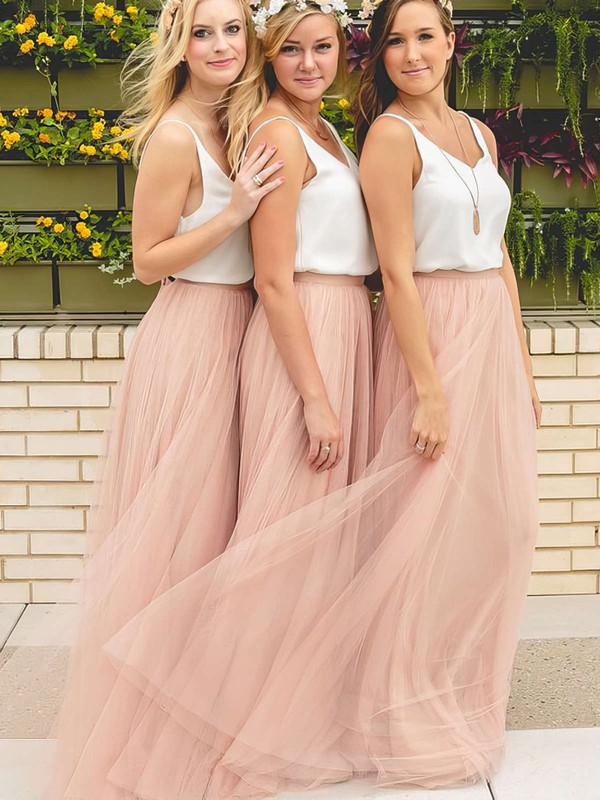 A-line V-neck Floor-length Tulle Bridesmaid Dresses #PDS01013649