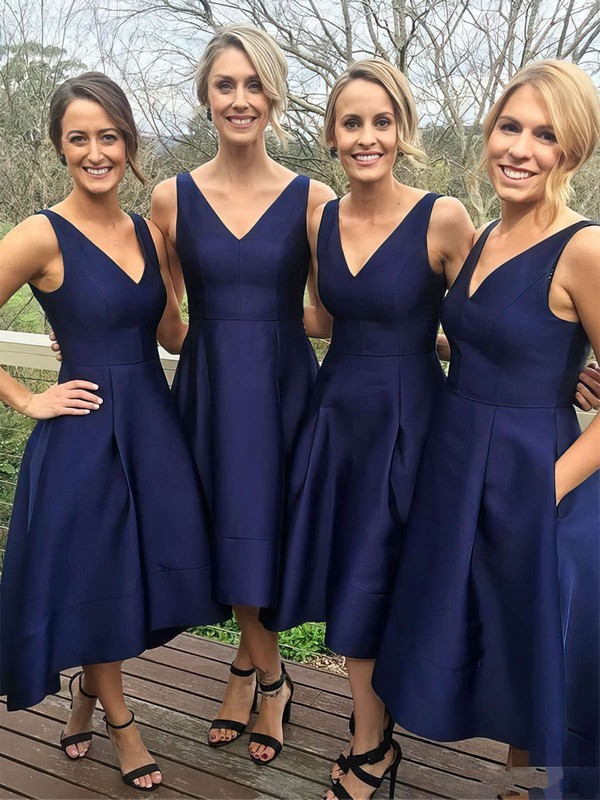 Princess V-neck Tea-length Satin Pockets Bridesmaid Dresses #PDS01013652