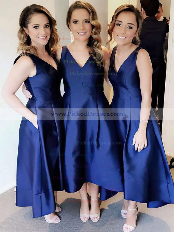 Princess V-neck Tea-length Satin Pockets Bridesmaid Dresses #PDS01013652
