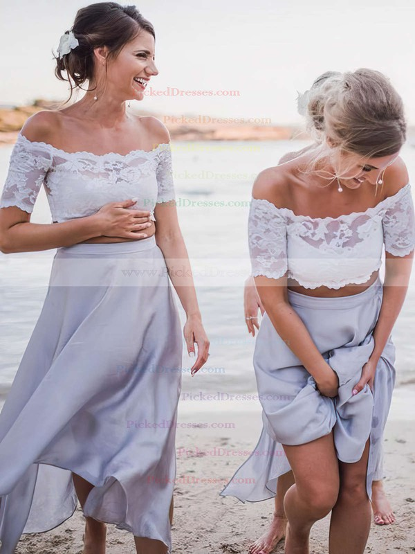 A-line Off-the-shoulder Ankle-length Chiffon Lace Bridesmaid Dresses #PDS01013653