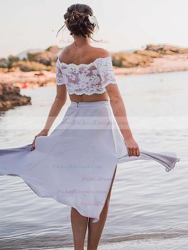 A-line Off-the-shoulder Ankle-length Chiffon Lace Bridesmaid Dresses #PDS01013653