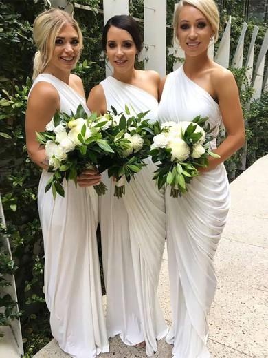 Sheath/Column One Shoulder Floor-length Chiffon Ruffles Bridesmaid Dresses #PDS01013654