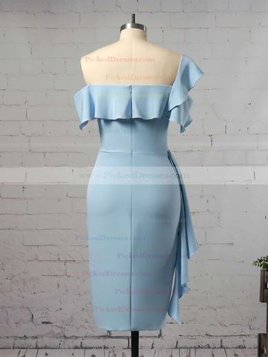 Sheath/Column One Shoulder Tea-length Silk-like Satin Ruffles Bridesmaid Dresses #PDS01013657