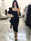 Sheath/Column One Shoulder Tea-length Silk-like Satin Ruffles Bridesmaid Dresses #PDS01013657