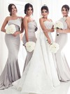 Trumpet/Mermaid Strapless Sweep Train Silk-like Satin Bridesmaid Dresses #PDS01013658