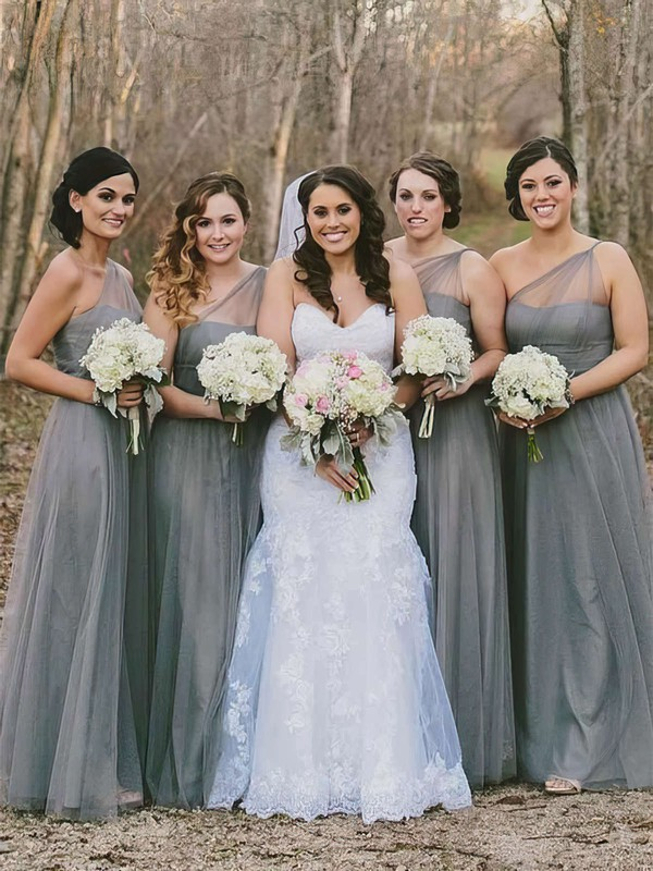 A-line One Shoulder Floor-length Tulle Bridesmaid Dresses #PDS01013660