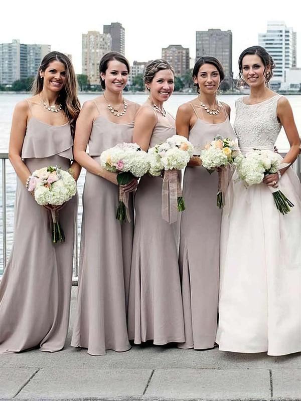 A-line Scoop Neck Sweep Train Chiffon Ruffles Bridesmaid Dresses #PDS01013661