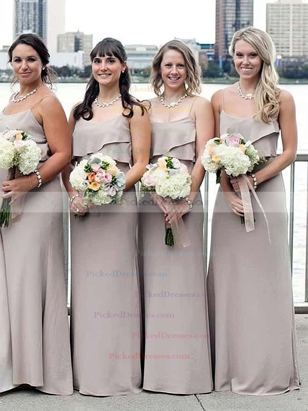 A-line Scoop Neck Sweep Train Chiffon Ruffles Bridesmaid Dresses #PDS01013661