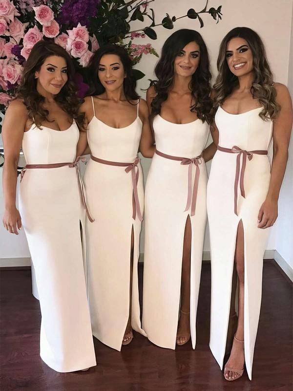 Trumpet/Mermaid Scoop Neck Floor-length Silk-like Satin Sashes / Ribbons Bridesmaid Dresses #PDS01013662