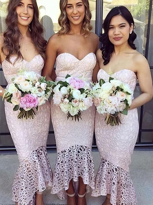 Trumpet/Mermaid Sweetheart Asymmetrical Lace Bridesmaid Dresses #PDS01013663