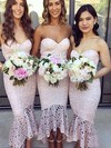 Trumpet/Mermaid Sweetheart Asymmetrical Lace Bridesmaid Dresses #PDS01013663
