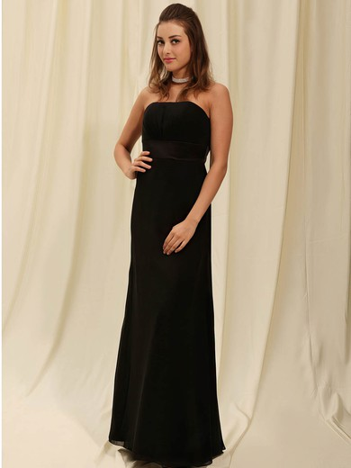 Chiffon Sheath/Column Strapless Floor-length Draping Bridesmaid Dresses #PDS02042141