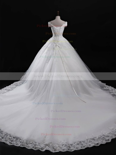 Ball Gown V-neck Chapel Train Tulle Appliques Lace Wedding Dresses #PDS00023321