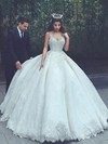 Ball Gown V-neck Floor-length Lace Satin Appliques Lace Wedding Dresses #PDS00023322