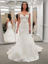 Trumpet/Mermaid V-neck Sweep Train Lace Satin Appliques Lace Wedding Dresses #PDS00023323