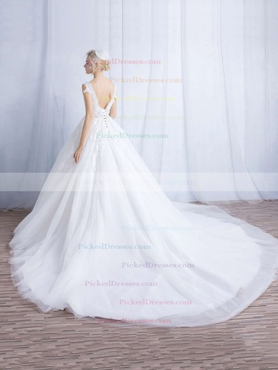 Ball Gown V-neck Chapel Train Tulle Appliques Lace Wedding Dresses #PDS00023324
