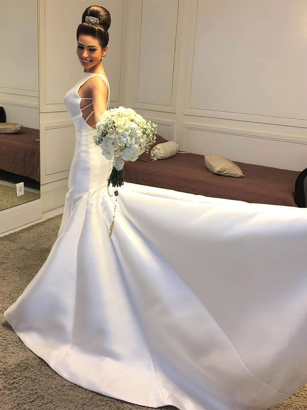 Trumpet/Mermaid Scoop Neck Sweep Train Satin Wedding Dresses #PDS00023326