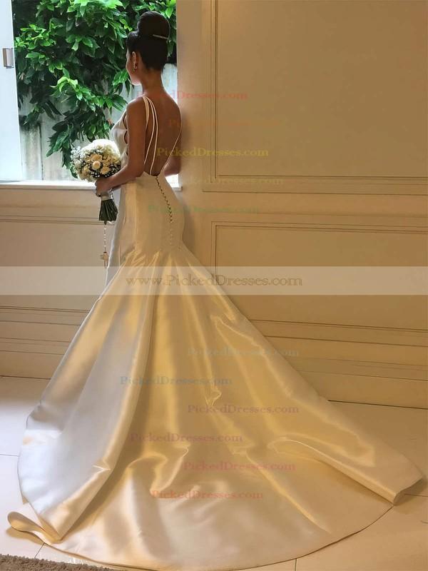 Trumpet/Mermaid Scoop Neck Sweep Train Satin Wedding Dresses #PDS00023326