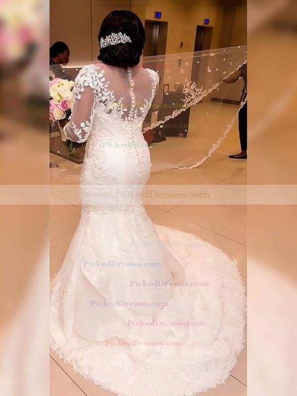 Trumpet/Mermaid Scoop Neck Sweep Train Tulle Appliques Lace Wedding Dresses #PDS00023327
