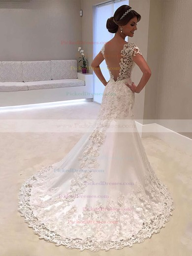 Trumpet/Mermaid V-neck Sweep Train Satin Tulle Beading Wedding Dresses #PDS00023328