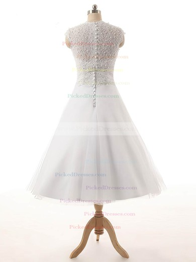 Princess Scoop Neck Tea-length Tulle Lace Wedding Dresses #PDS00023329