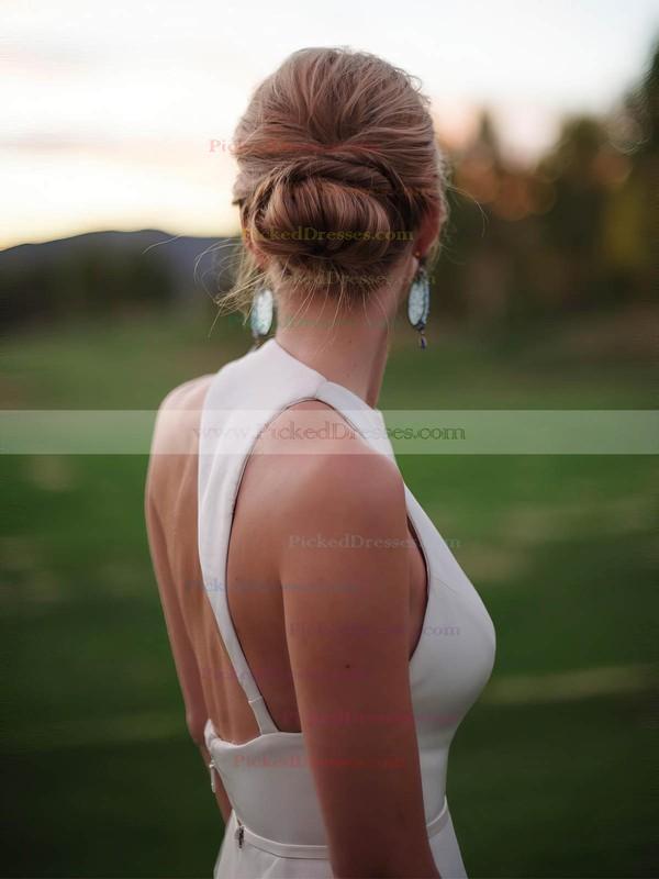 Sheath/Column Scoop Neck Floor-length Satin Sashes / Ribbons Wedding Dresses #PDS00023330