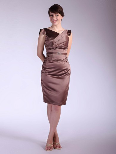 Satin Sheath/Column V-neck Knee-length Sashes/Ribbons Bridesmaid Dresses #PDS02042143