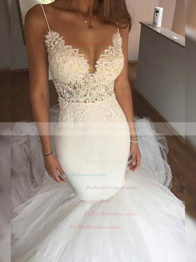 Trumpet/Mermaid V-neck Chapel Train Tulle Appliques Lace Wedding Dresses #PDS00023331
