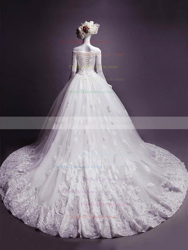 Ball Gown Off-the-shoulder Chapel Train Tulle Appliques Lace Wedding Dresses #PDS00023332