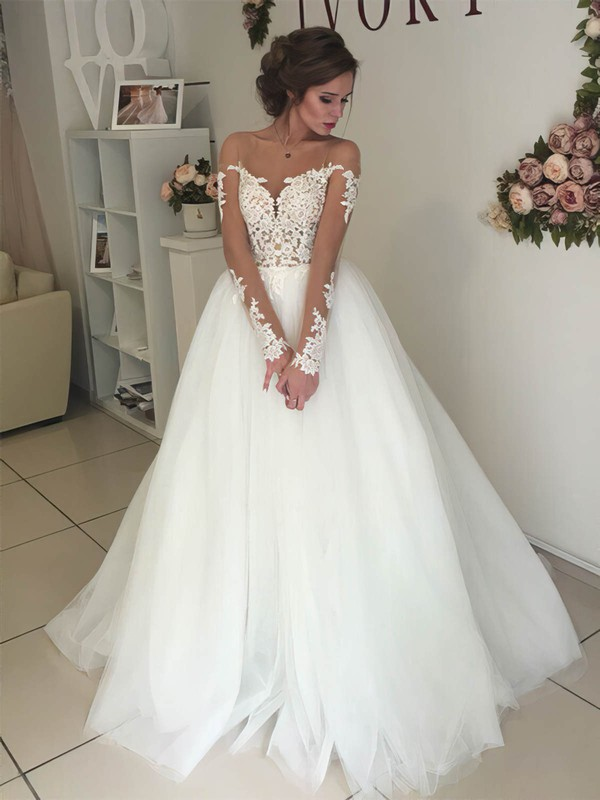 Ball Gown Scoop Neck Sweep Train Tulle Appliques Lace Wedding Dresses #PDS00023333