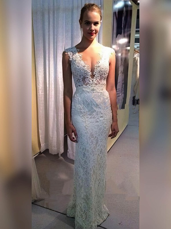 Sheath/Column V-neck Floor-length Lace Appliques Lace Wedding Dresses #PDS00023334